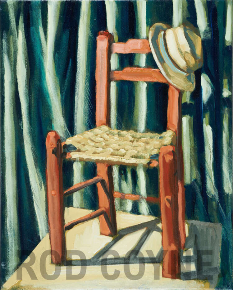 "artist rod coyne's still life painting ""bockady chair"" is shown here, watermarked."
