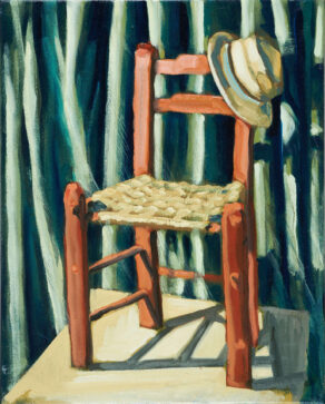 "artist rod coyne's still life painting ""bockady chair"" is shown here."