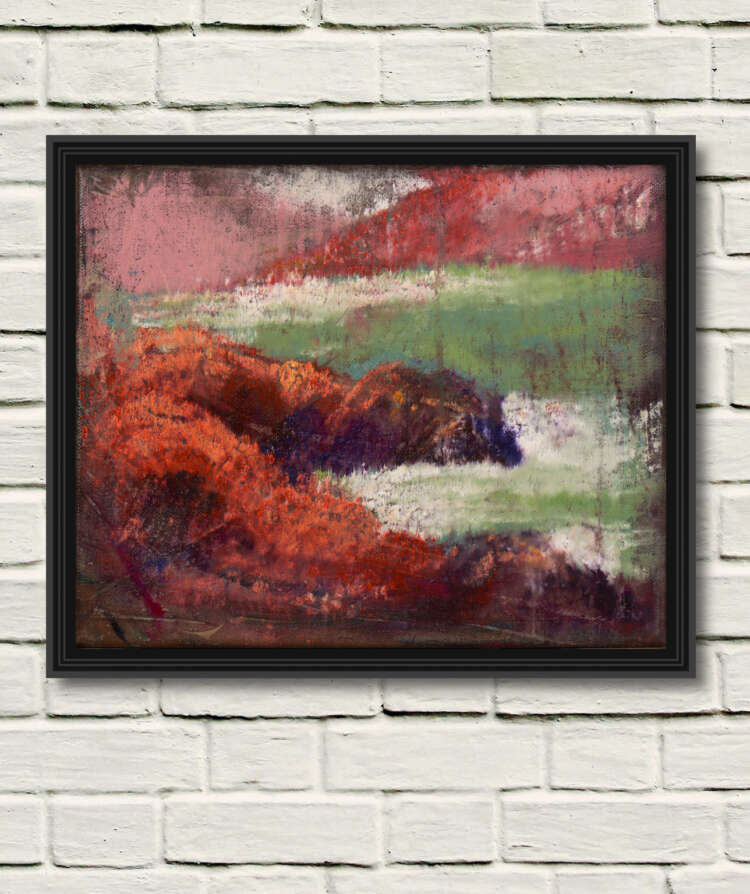 """artist rod coyne's painting """"at horse island"""" is shown here as a canvas print in a black frame on a white wall."""