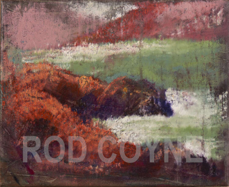 """artist rod coyne's painting """"at horse island"""" is shown here, watermarked."""