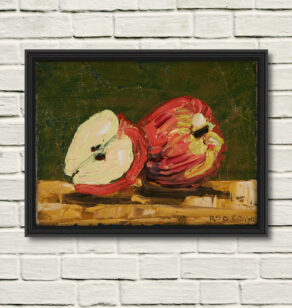 "artist rod coyne's still life painting ""apple still life"" is shown here, in a black frame on a white wall."