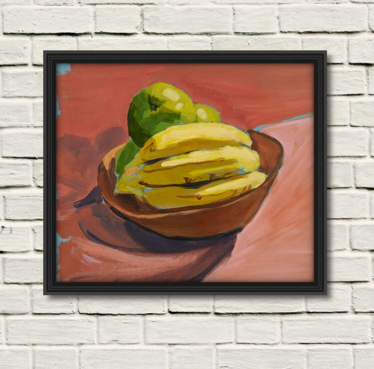 """artist rod coyne's still life """"fruit bowl"""" painting is shown here, in a black frame on a white wall.."""