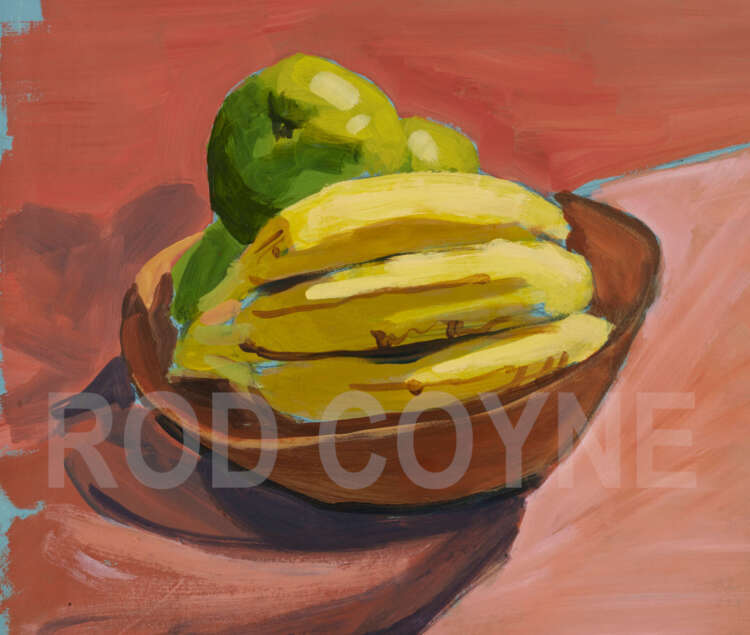 "artist rod coyne's still life ""fruit bowl"" painting is shown here, water marked.."