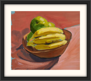 "artist rod coyne's still life ""fruit bowl"" painting is shown here, on a white mount in a black frame."