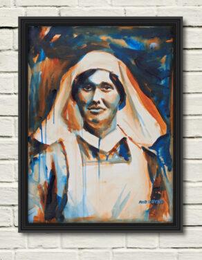 "artist rod coyne's portrait ""Elisebeth O'Farrell 1916"" is shown here, in a black frame on a white wall."