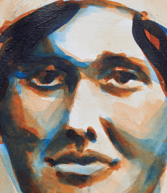 "artist rod coyne's portrait ""Elisebeth O'Farrell 1916"" is shown here, close up."