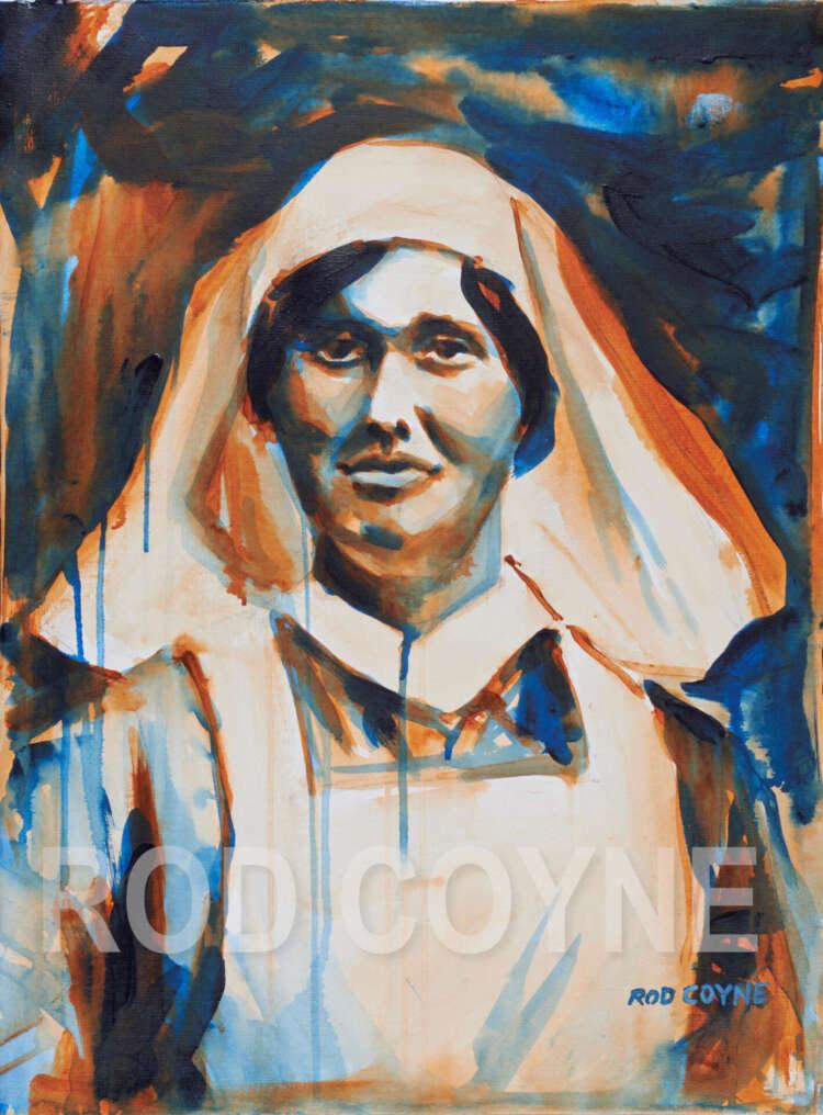 "artist rod coyne's portrait ""Elisebeth O'Farrell 1916"" is shown here, watermarked."