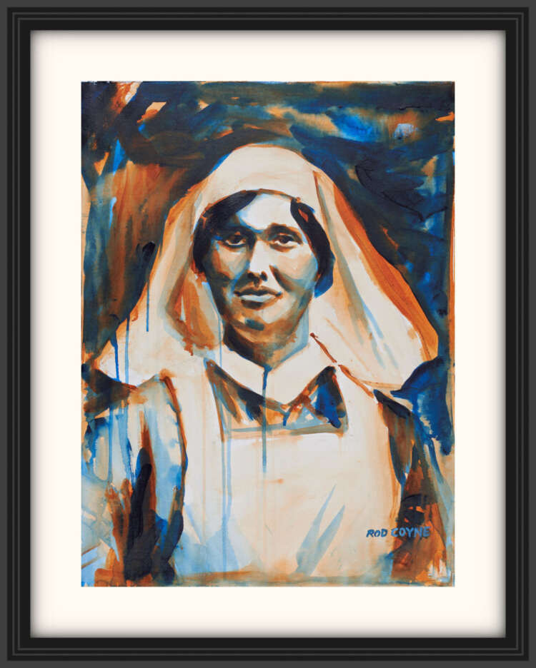"artist rod coyne's portrait ""Elisebeth O'Farrell 1916"" is shown here, on a white mount in a black frame."