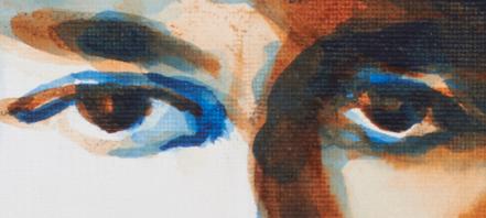 "artist rod coyne's portrait ""Maud Gonne 1916"" is shown here, a close up detail."