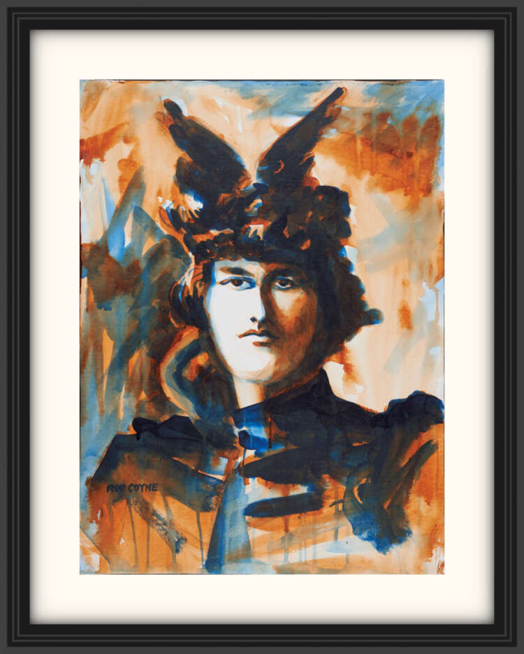 """artist rod coyne's portrait """"Maud Gonne 1916"""" is shown here, on a white mount in a black frame."""