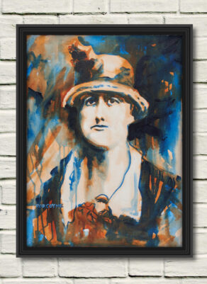 """artist rod coyne's portrait """"Jeannie Wyse-Power 1916"""" is shown here, in a black frame on a white wall."""