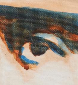 "artist rod coyne's portrait ""Thomas McDonagh 1916"" is shown here, close up."