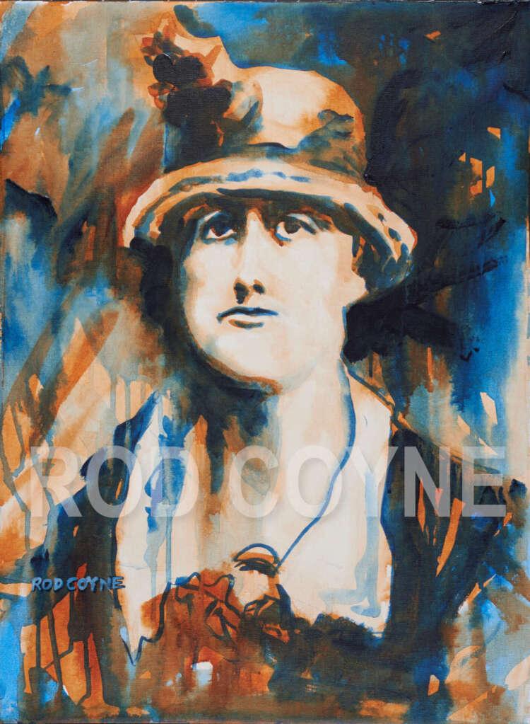 "artist rod coyne's portrait ""Thomas McDonagh 1916"" is shown here, watermarked."