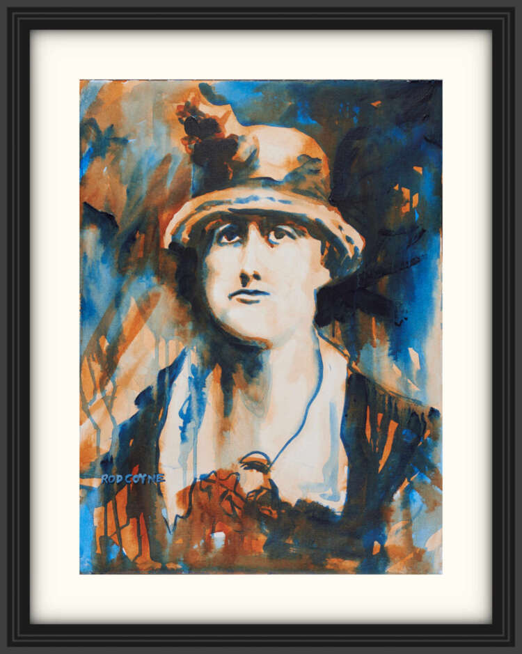 """artist rod coyne's portrait """"Jeanie Wyse-Power 1916"""" is shown here, on a white mount in a black frame."""