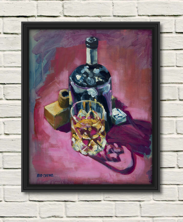 """artist rod coyne's still life painting """"ultimate fathers day"""" is shown here, as a canvas print framed in black on a white wall."""