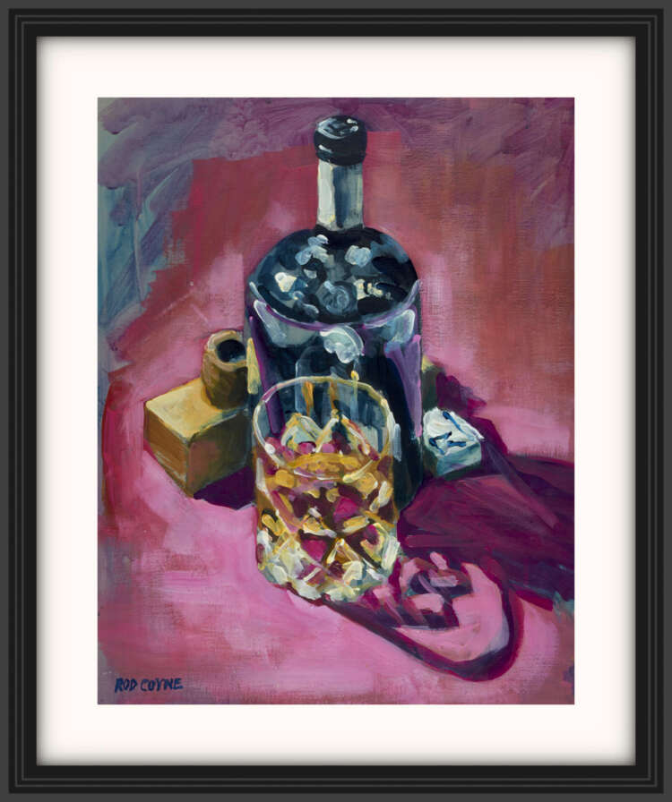 """artist rod coyne's still life painting """"ultimate fathers day"""" is shown here, on a white mount in a black frame."""