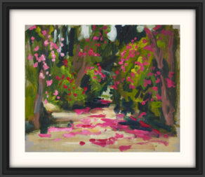 """artist rod coyne's botanical painting """"kilmacurragh broadwalk"""" is shown here, in a black frame and a white mount."""