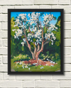 "artist rod coyne's landscape painting ""white rhodies"" is shown here, in a black frame on a white brick wall."