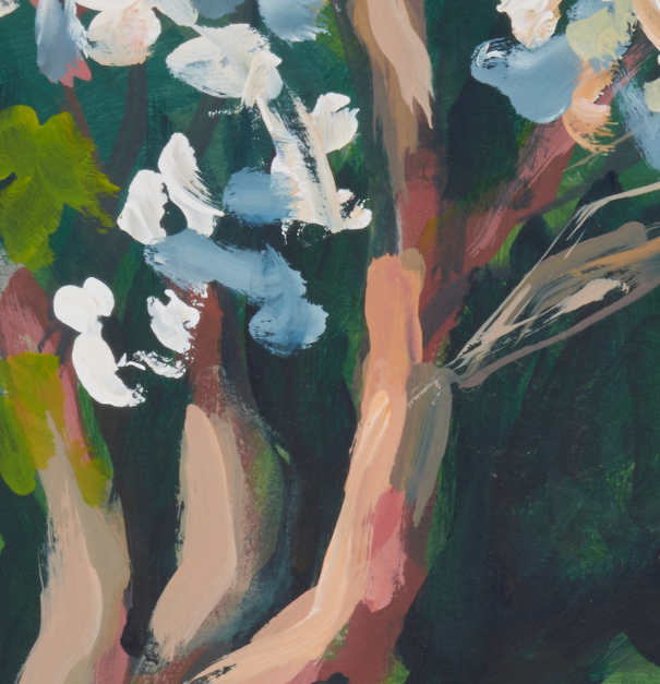 "artist rod coyne's landscape painting ""white rhodies"" is shown here, a close up detail."