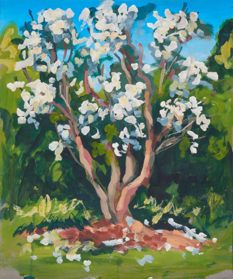 "artist rod coyne's landscape painting ""white rhodies"" is shown here."