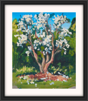 "artist rod coyne's landscape painting ""white rhodies"" is shown here, with a white mount and a black frame."