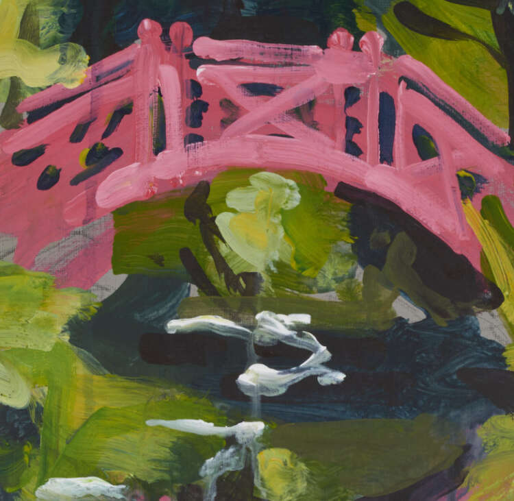 """artist rod coyne's landscape painting """"knockanree japanese bridge"""" is shown here in close up detail."""