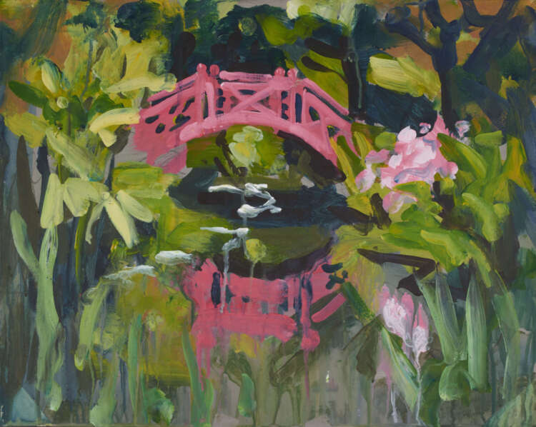 "artist rod coyne's landscape painting ""knockanree japanese bridge"" is shown here."