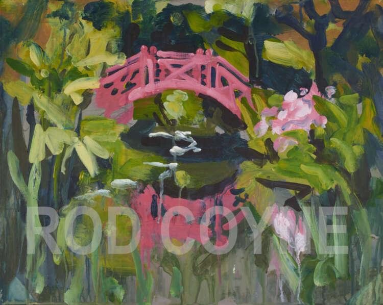 "artist rod coyne's landscape painting ""knockanree japanese bridge"" is shown here, watermarked."