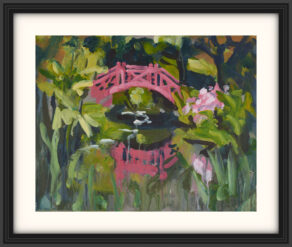 "artist rod coyne's landscape painting ""knockanree japanese bridge"" is shown here, on a white mount in a black frame."