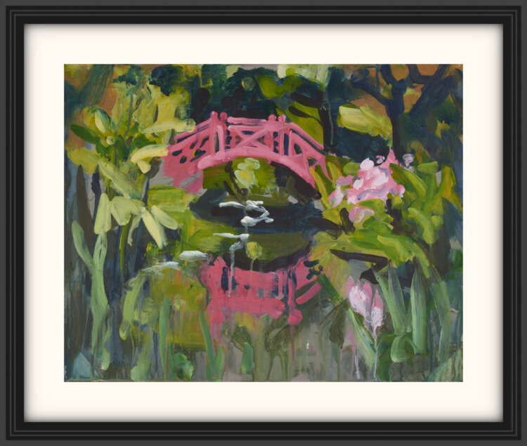 """artist rod coyne's landscape painting """"knockanree japanese bridge"""" is shown here, on a white mount in a black frame."""