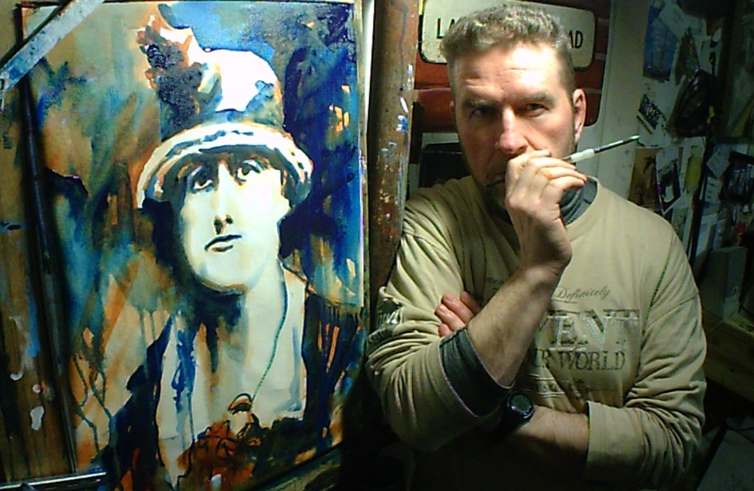 artist rod coyne poses beside his 1916-Jeannie-Wyse-Power portrait just completed.