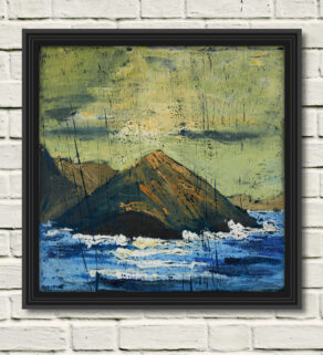 """artist rod coyne's seascape """"sulphur rising"""" is shown here, in a black frame on a white wall."""