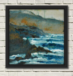"""artist rod coyne's seacape """"fog clearing, finan's bay"""" is shown here, in a black frame on a white wall."""