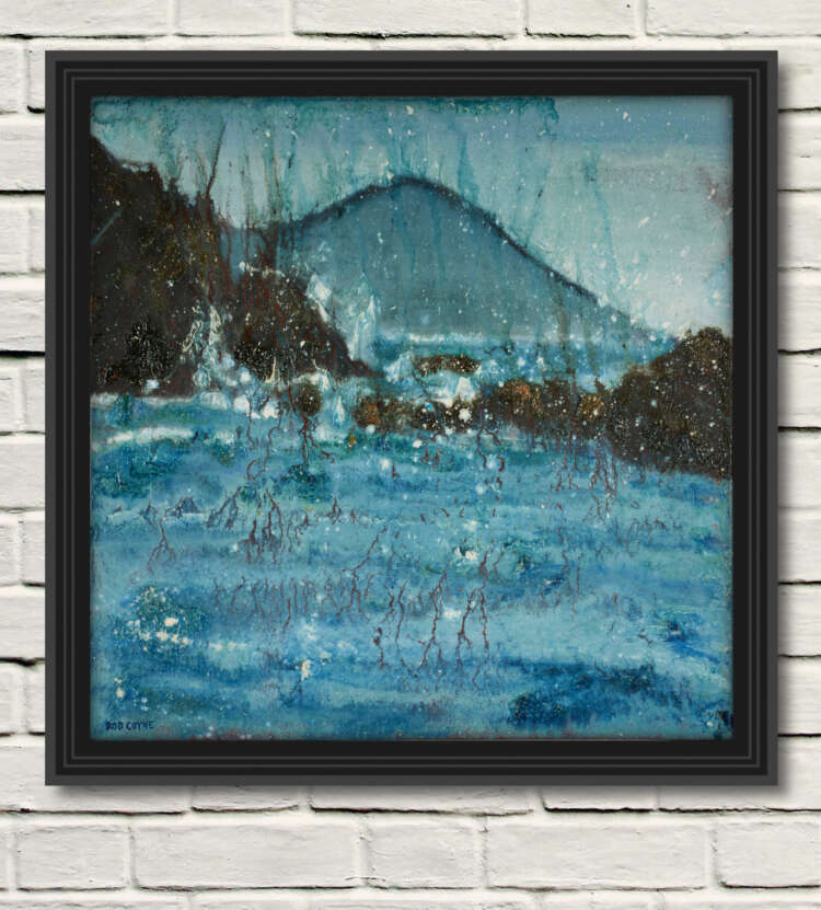 "artist rod coyne's seascape ""seaspray southwest"" is shown here, in a black frame on a white wall."