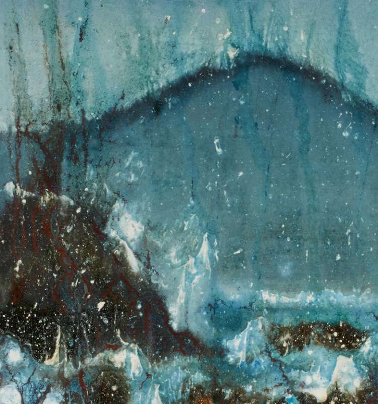 "artist rod coyne's seascape ""seaspray southwest"" is shown here, in detail close up."