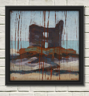 """artist rod coyne's seascape """"mccarty's castle"""" is shown here, in a black frame on a white wall."""