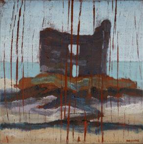 "artist rod coyne's seascape ""mccarty's castle"" is shown here."