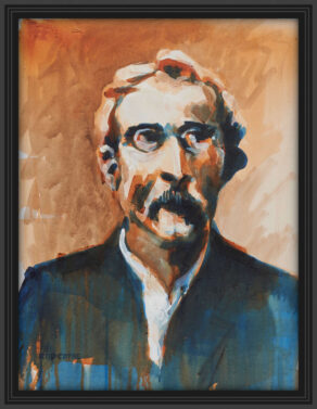 "artist rod coyne's portrait ""padraig pearse 1916"" is shown here, in a black frame on a white wall."