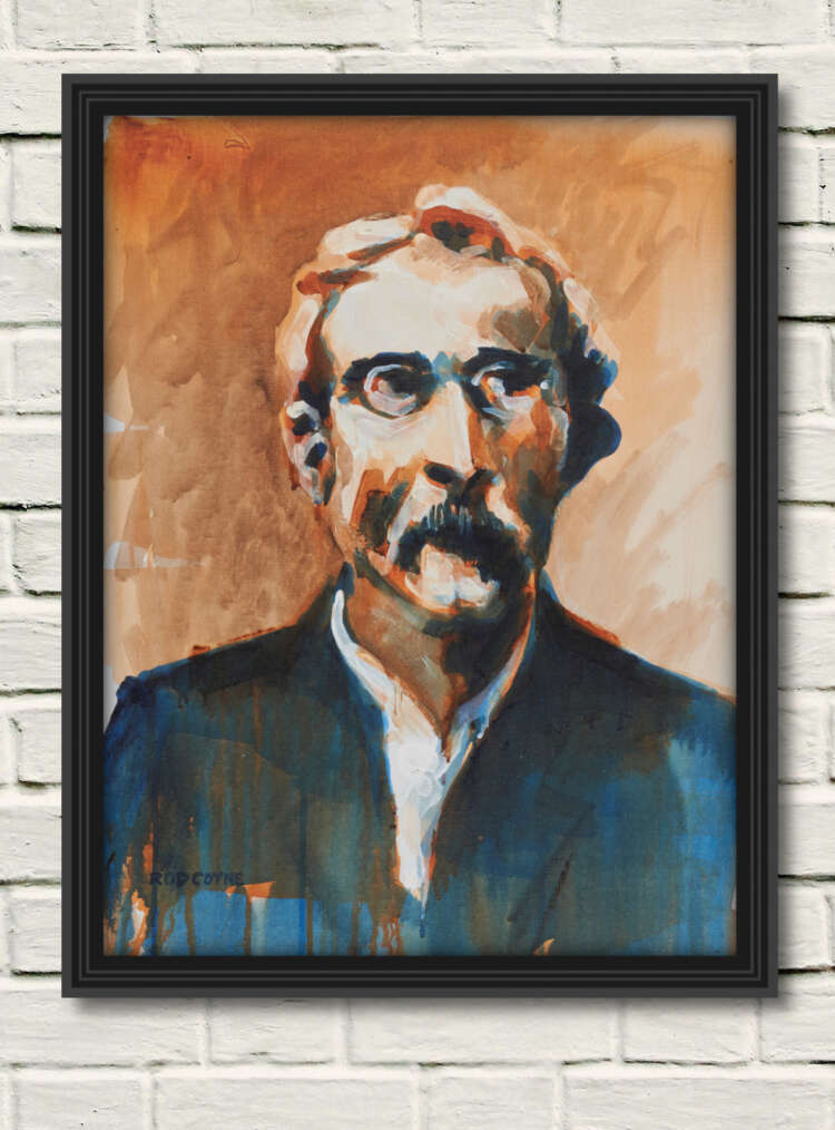 """artist rod coyne's portrait """"Thomas Clarke 1916"""" is shown here, in a black frame on a white wall."""