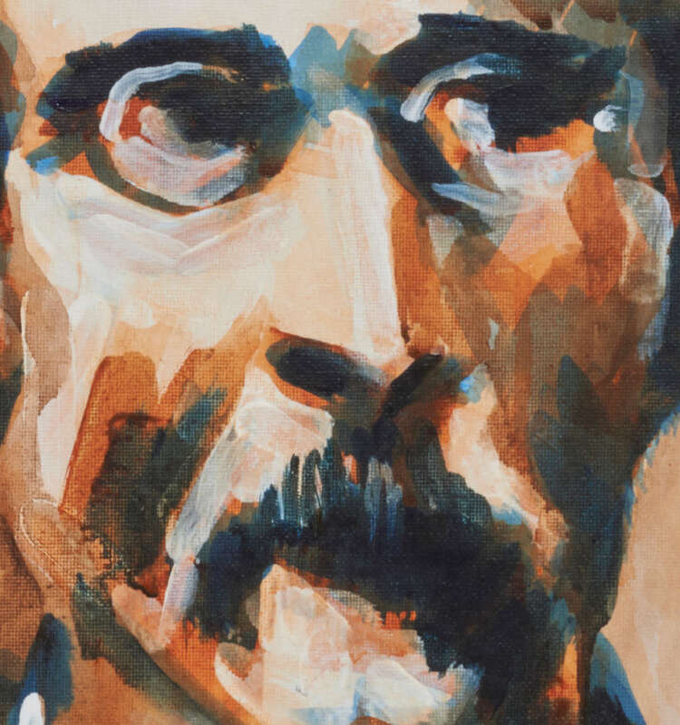 """artist rod coyne's portrait """"padraig pearse 1916"""" is shown here, close up."""