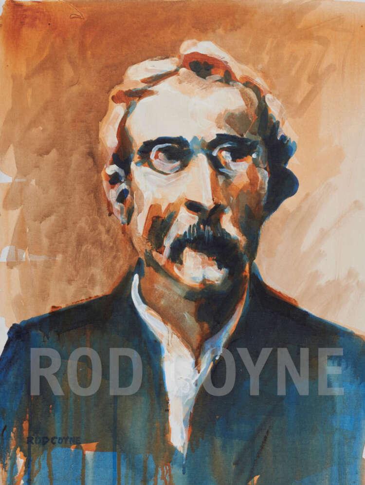 "artist rod coyne's portrait ""padraig pearse 1916"" is shown here, watermarked."