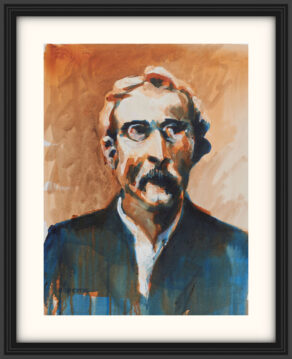 "artist rod coyne's portrait ""tom clarke 1916"" is shown here, on a white mount in a black frame."