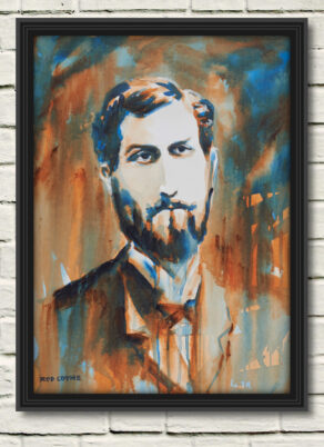 "artist rod coyne's portrait ""Roger Casement 1916"" is shown here, in a black frame on a white wall."