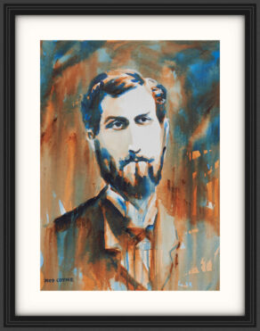 "artist rod coyne's portrait ""Roger Casement 1916"" is shown here, on a white mount in a black frame."