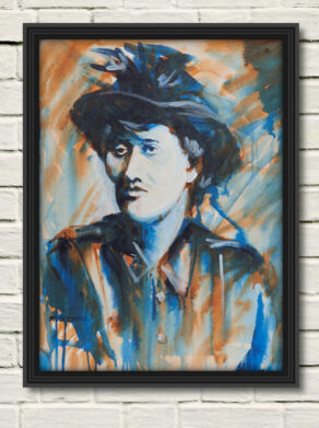 "artist rod coyne's portrait ""Countess Markievicz 1916"" is shown here, in a black frame on a white wall."