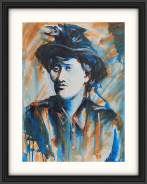 "artist rod coyne's portrait ""Countess Markievicz 1916"" is shown here, on a white mount in a black frame."