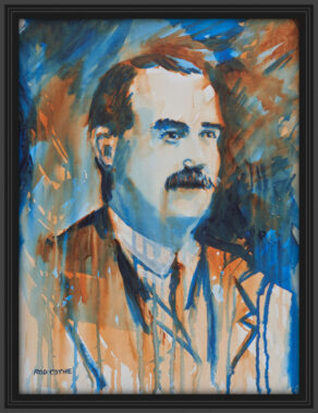"artist rod coyne's portrait ""James Connolly 1916"" is shown here, in a black frame on a white wall."