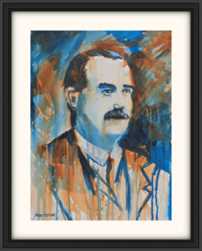 "artist rod coyne's portrait ""James Connolly 1916"" is shown here, on a white mount in a black frame."