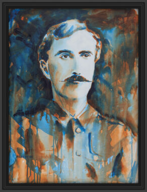 "artist rod coyne's portrait ""The O'Rahilly 1916"" is shown here, in a black frame on a white wall."