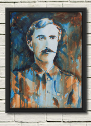 """artist rod coyne's portrait """"The O'Rahilly 1916"""" is shown here, in a black frame on a white wall."""